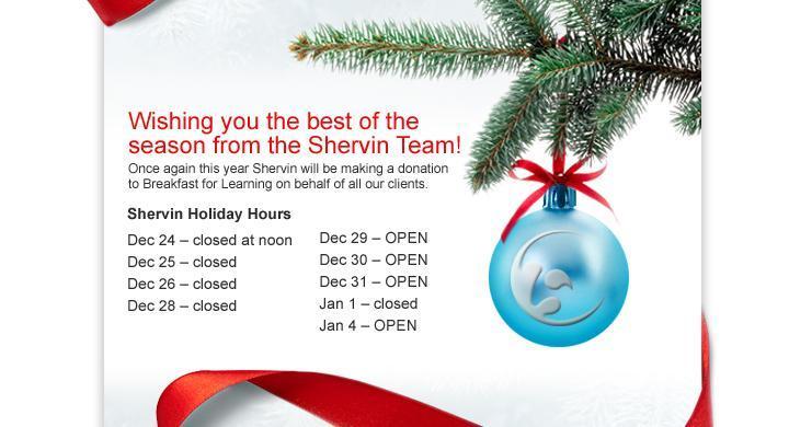 Shervin Christmas Hours