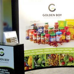 Golden Boy Foods tradeshow booth